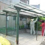 ゴミ収集所のペンキ塗替え・屋根張替作業